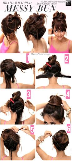gow to create a big braided messy bun updo 4 Lazy Girls Easy Hairstyles | How to Cute Braids + Messy Buns?