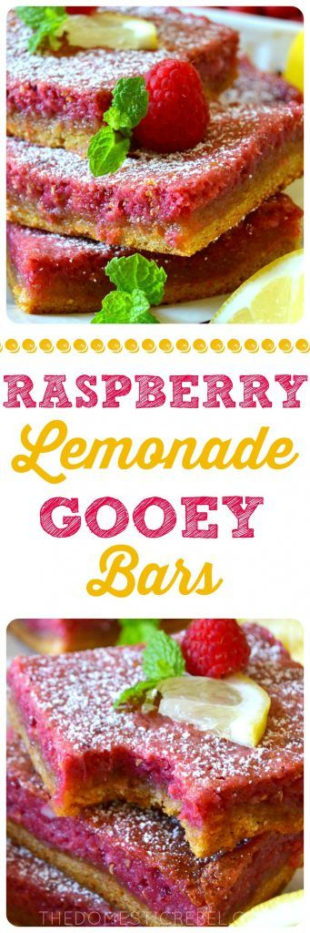 These Raspberry Lemonade Gooey Bars are amazing! Layers of zesty lemon cake mix topped with a gooey fresh raspberry filling! Tastes like summertime in an easy dessert that feeds a crowd!
