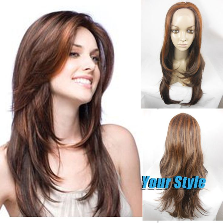 Good  Synthetic Yaki Lace Front Wigs for Sale Long Body Wave Wavy Brown Natural Hair Wigs Female Perruca Longa Sintetica