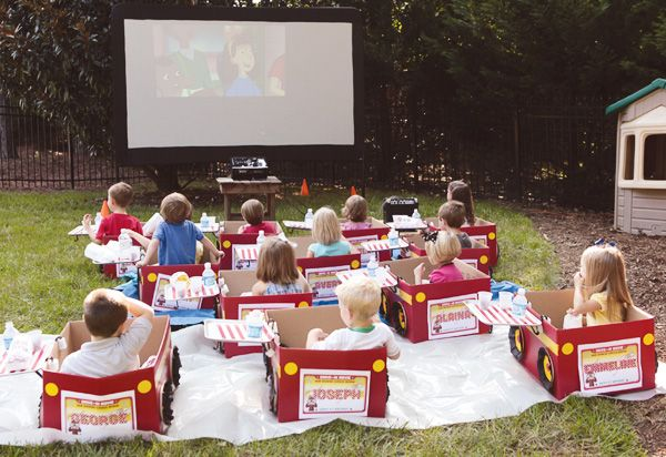 Drive-In Movie party with individual cardboard cars?! This is the cutest!