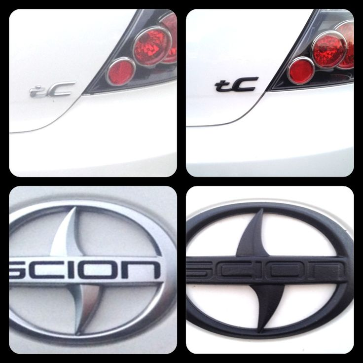 Plastidip - matte black - scion tC emblems - before (on left) and after (on right) - obsessed - love my car