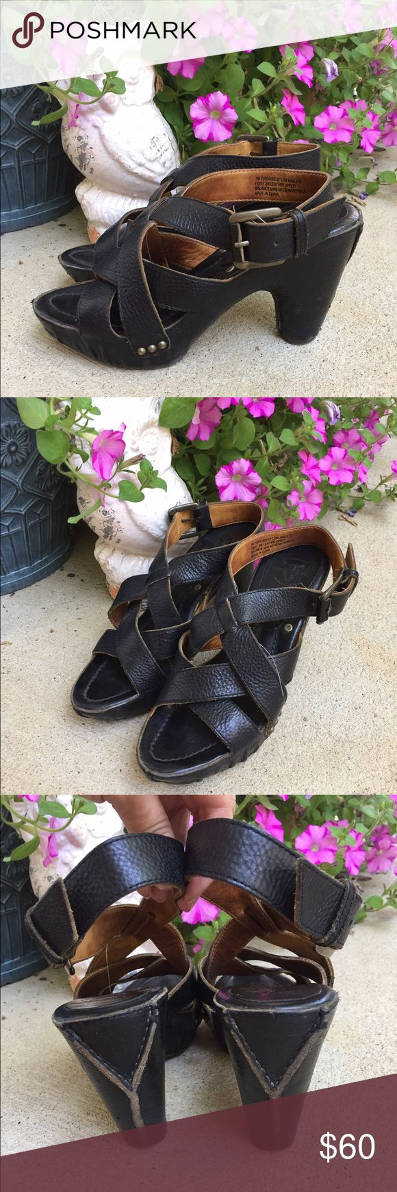 Frye Reese Low Ankle Strappy Platform Sandals VGUC. Will look beautiful with a little polishing. I really like these because I can walk in them all day. I just don't wear heels anymore and they aren't getting the use they should. TTS Frye Shoes Sandals
