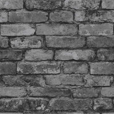 Charcoal grey brick wallpaper for the chimney breast & have a fake fire in the gap?