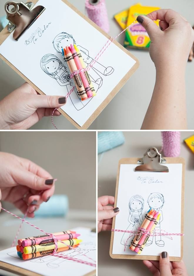 Here's a super cute DIY idea for keeping the lil' ones entertained at your wedding. It's as simple as mini clipboards + crayons + colouring sheets wrapped in twine