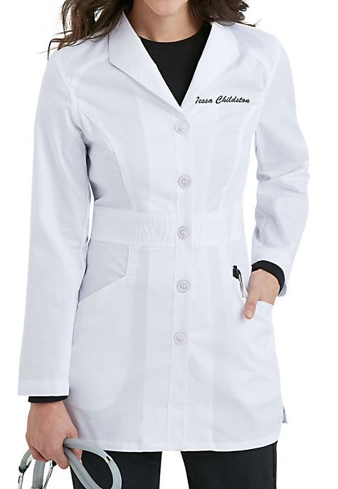 "The Smart Stretch Signature lab coat from Landau has a professional look and flatters every figure! This coat features great accents like a wing lapel and two roomy slanted pockets for plenty of storage for your accessories! Landau Smart Stretch Signature Mid-length Lab Coats Front placket with five-button closure Edged stitched princess seams Multi-stitched waistband Two slanted pockets Medium center back length 31 1/2"" 52% cotton/45% polyester/3% spandex"