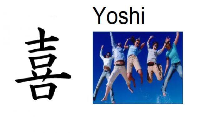 Significado: Gozo, gozar, diversión  Pronunciación: Yoshi  Nombre de: Chico  También usado en nombres compuestos (Yoshito, Yoshinao, Yoshino)  Nombre común en China también (Hè)
