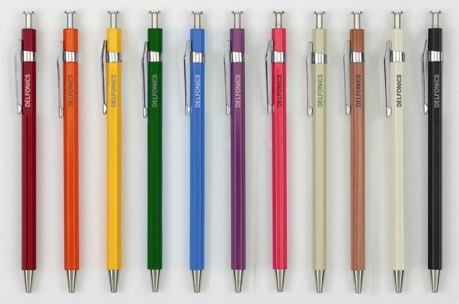 Delfonics Stationary      Delfonics has been the local standard in Japan for brilliant, and innovative stationery for over 20 years.  Almost never seen outside of Japan, the Walker Shop is very honored to introduce this new stationary product.        Available colors: Black, Blue, Green, Natural, Orange, Red, White, Yellow, Purple, Pink and Beige with green lettering (available in April)      Wood ball pens with black ink; .7mm