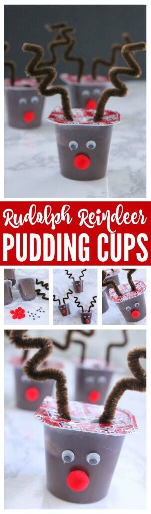 Rudolph Reindeer Pudding Cups! A fun and creative way to share holiday cheer this Christmas!