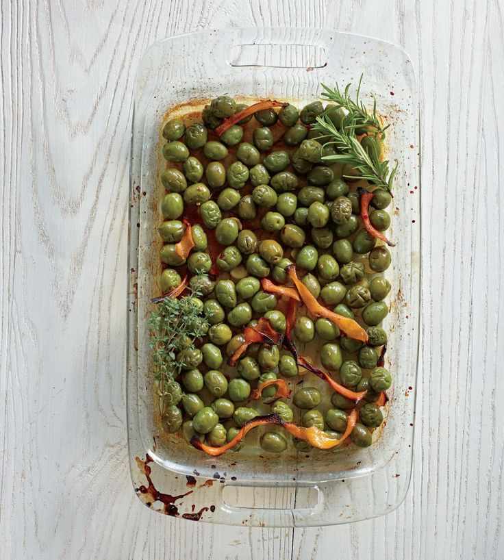 Italian cookbook-Lidia's Roasted Olives with Orange and Rosemary