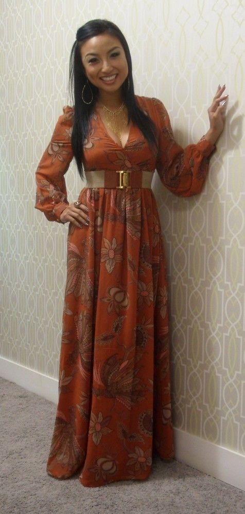 Bishop Sleeve, Printed Maxi Dress | Wide Belt | Gold Necklace | (Jeannie Mai) - I LOVE this dress from H! I bet it was so cheap when it was still in stores.. too bad it's being sold on ebay for $75+ now.