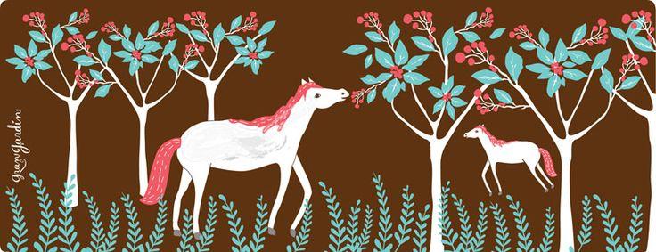 ilustración para #granjardin #horses #caballos #trees #árboles #tamairis #illustration