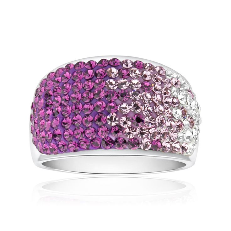 RUSH Purple and White Crystal Sterling Silver Ring