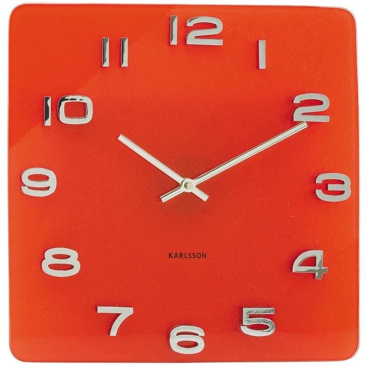 Karlsson vintage wall clock red glass