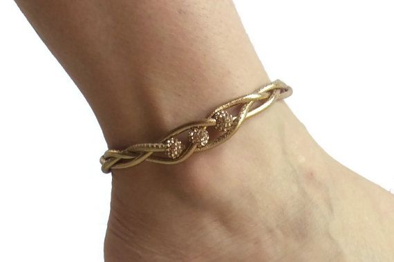 Metallic Gold Leather Anklet Anklets for Women Womens