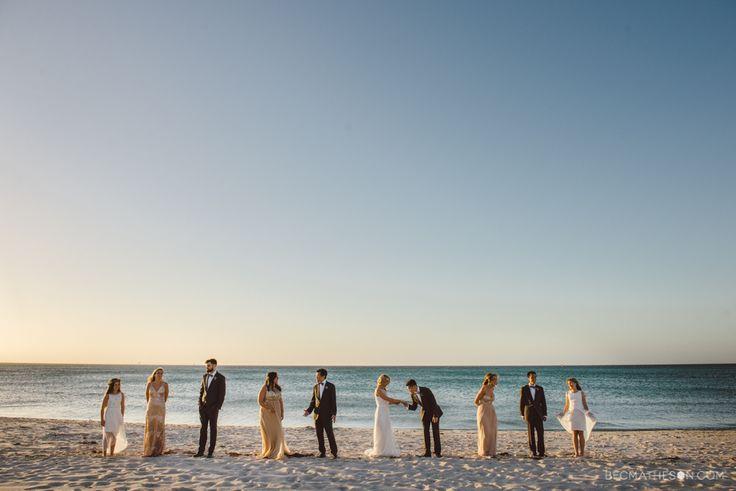 Beach wedding bridal party. Melbourne Australia wedding photography.  www.becmatheson.com