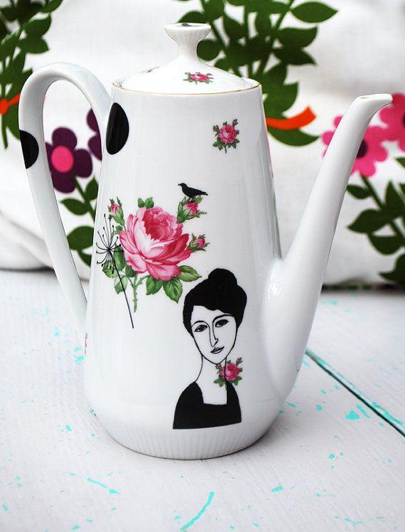 This is so pretty! Vintage redecorated teapot Hélène by Celinda Ceramics #vintage