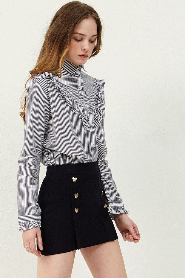 Gemma Stripe Ruffle Blouse . Discover the latest fashion trends online at storets.com #ruffleblouse #stripeblouse #blackcheckblouse