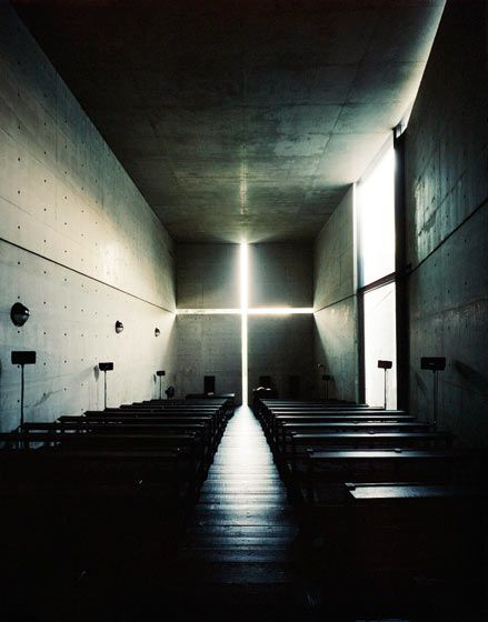 Church of Light-Tadao Ando. Seeing this picture in person is WAY better than on the computer. I bet seeing it in person is breathtaking!