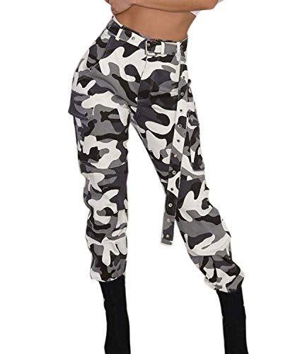 a1c0364d770 ORANDESIGNE Pantalon à Imprimé Camouflage Femme Jogging Casual Sports  Taille Haute Trousers Jeans 1 Blanc X