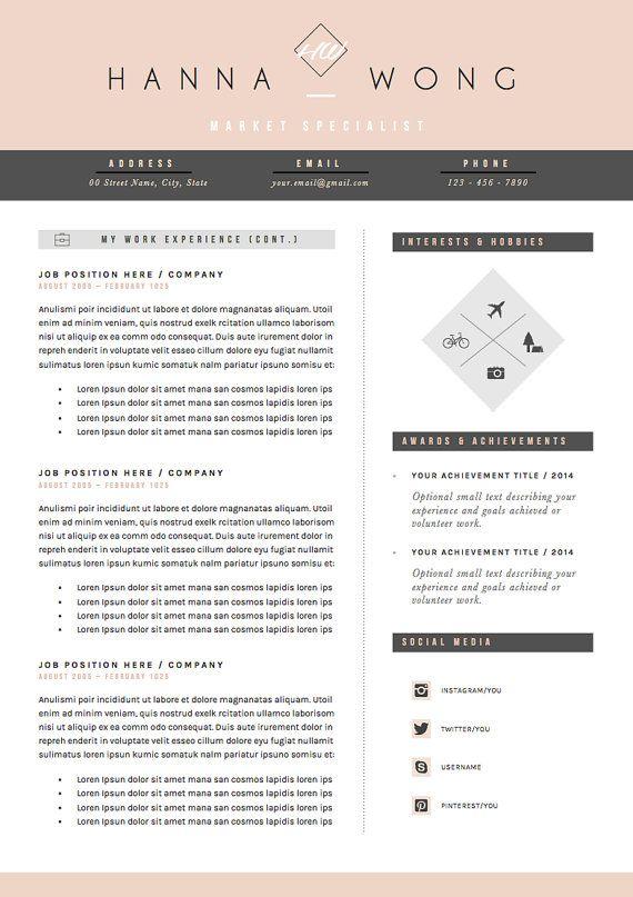 Resume Template / CV Template Cover Letter & by OddBitsStudio