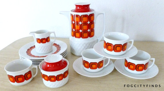 Peter Max inspired  Eames Era Mid Century Modern Coffee set