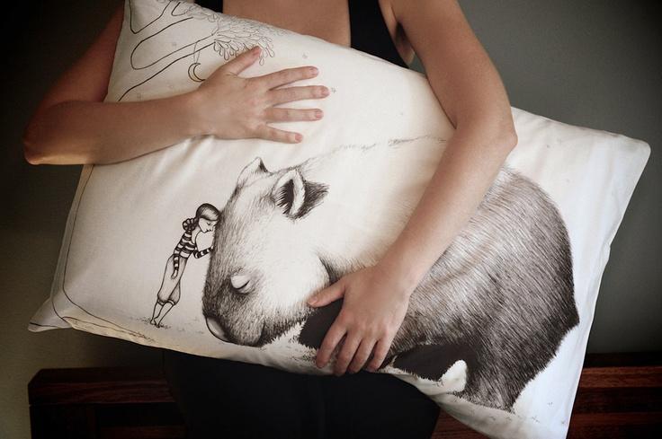 Wombat Pillowcase, facing left. Printed animal pillowcase.