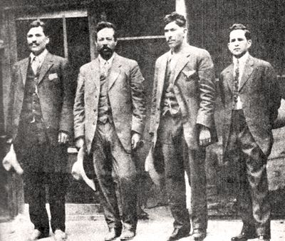LEFT TO RIGHT: Rodolfo Fierro, Pancho Villa, José Rodríguez, and a journalist
