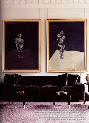 Francis Bacon: Interior Design, Francisbacon, Jacques Barn, Living Rooms, Valentino, Velvet Sofa, Interiors, Francis Bacon, Painting