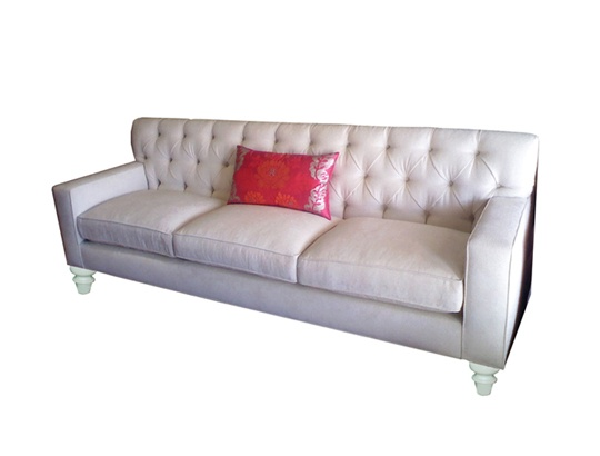 """Susanna Tufted Sofa, $3371.25  A tufted tight back and loose cushion sofa with graceful lines; bun feet shown in white lacquer; upholstery shown in a metallic chenille.  8'- 6""""L x 33""""OD, 36""""OH; 24""""  Custom finishes, fabrics and COM available."""