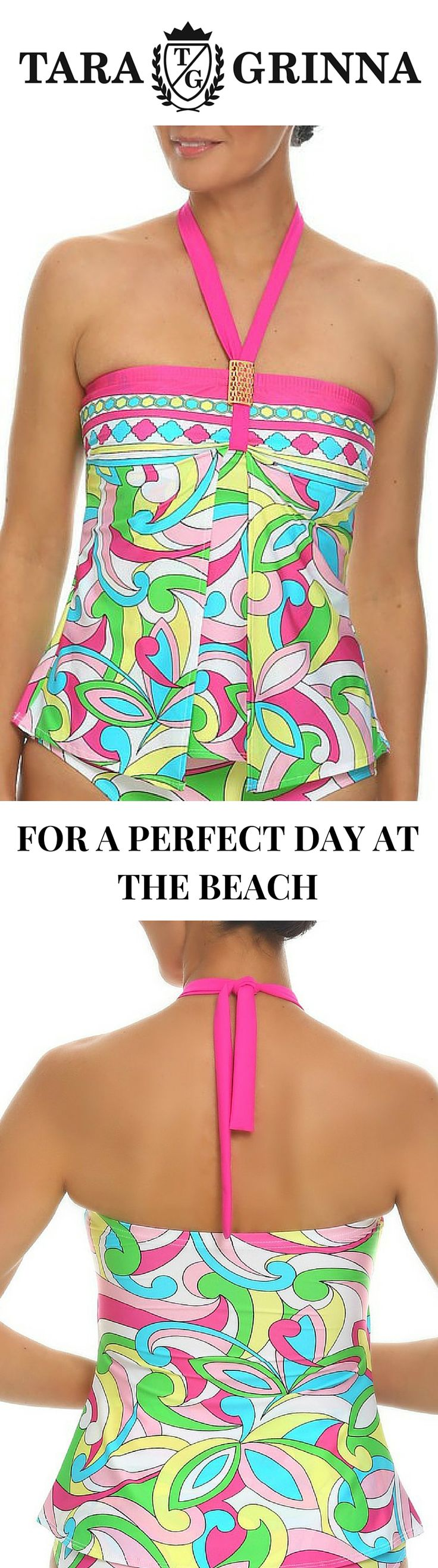 Modern floral swimsuit tankini with soft molded cups that perfectly fits average to large cup sizes. This floral tankini top with a split front overlay offers memorable appearance. It comes with a neck strap that can be worn in several different ways.  Celebrate your vacation with this floral swimwear tankini top and bring your beach style to life http://store.taragrinna-swimwear.com/