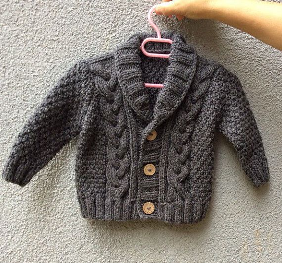 Knit Baby Grey Organic Cotton Sweater, Hand Knitted Gray Baby Cardigan, Baby boy Clothes, New Born Baby Gift for Baby Showers, Cable Knit coat This