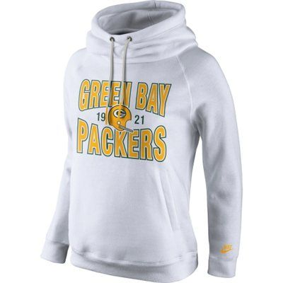 Nike Green Bay Packers Women's White Rewind Rally Funnel Hoodie