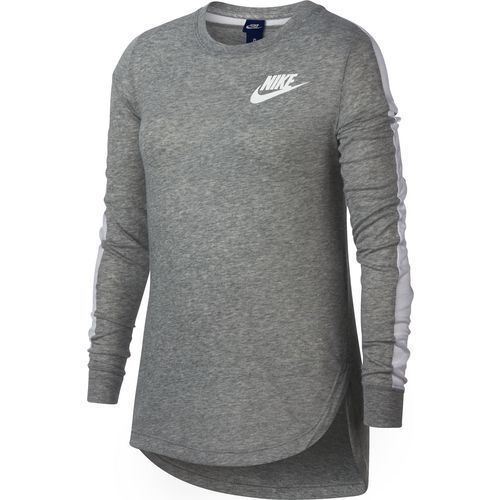 Nike Girls' Sportswear Long Sleeve Top (Dark Gray Heather/White, Size X Large) - Girl's Apparel, Girl's Athletic Tops at Academy Sports