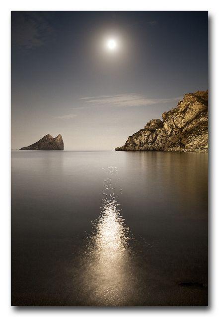 Reflejo en la noche. Isla del Fraile. Águilas, Murcia.