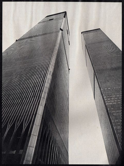 110 story world trade center's twin towers are rising to the sky august 1972   Flickr - Photo Sharing!