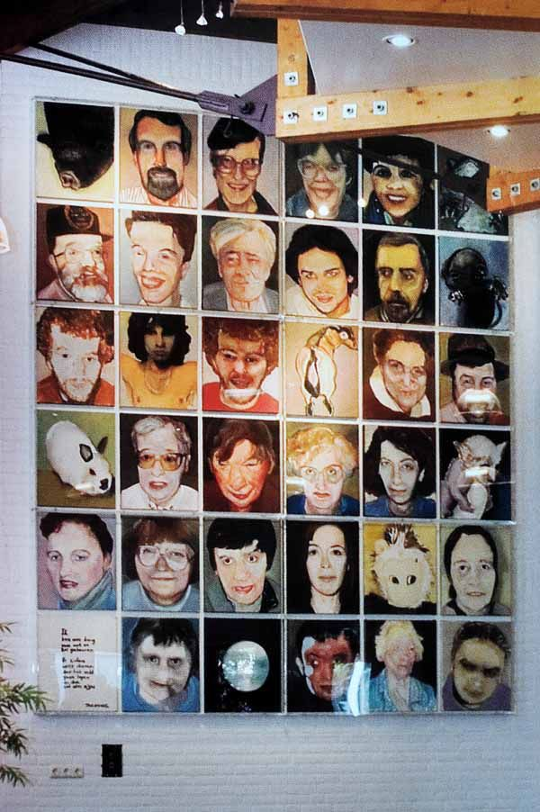 Marlene Dumas, de wand met portretten in Het Hooghuys.