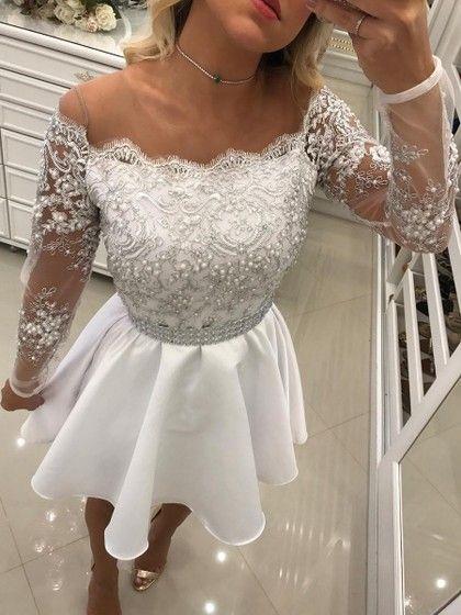 4c7dc5327b9d A-line Scoop Neck Satin Tulle Short/Mini Beading Prom Dresses $155.99