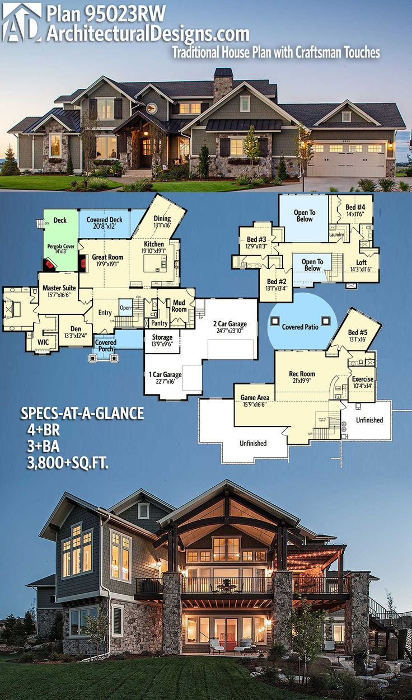 Architectural Designs House Plan 95023RW. 4+BR | 3+BA | 3,800+SQ.FT. ❣️❣️❣️❣️