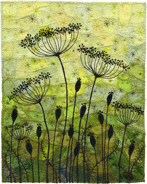 Seedpods 6, Garden Silhouette by Kirsten's Fabric Art, via Flickr