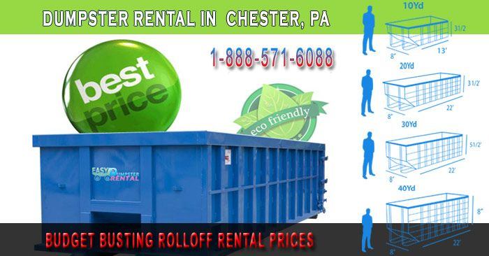 Chester, PA at Easy Dumpster Rental Dumpster Rental in Chester,PA Budget BustingRolloff RentalPrices Click To Call 1-888-792-7833Click For Email Quote We ProvideSuperior Rolloff Services In Chester: Everyday we our working tirelessly to bring our clients the finest in customer service in Chester. We know that you depend on us t... https://easydumpsterrental.com/pennsylvania/dumpster-rental-chester-pa/