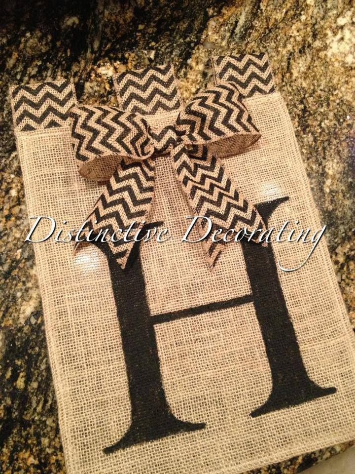 burlap handpainted garden flag with chevron bow added