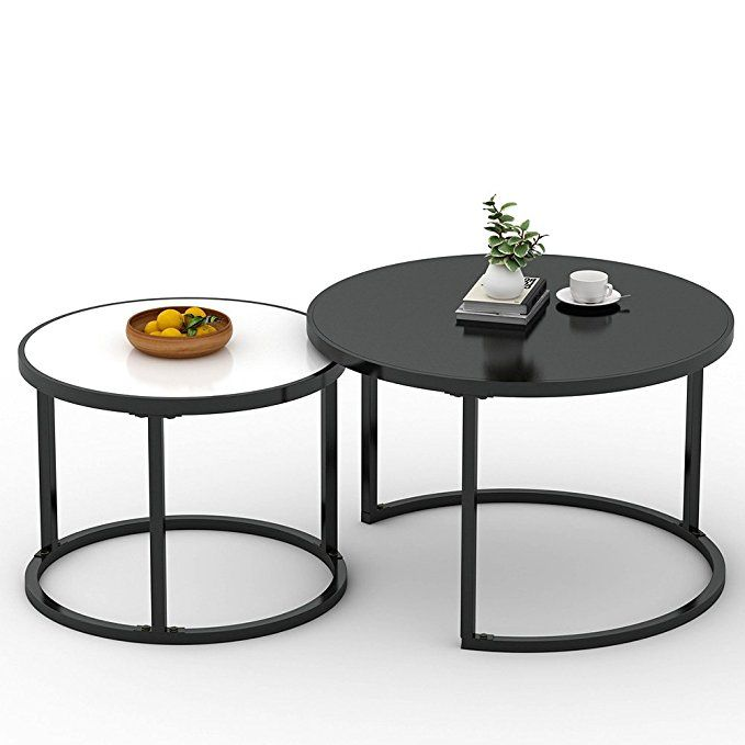 Coffee Table Little Tree 48 Large Modern Nesting Table Set With Sturdy Metal Round Base For Living Room Coffee Table Home Coffee Tables Nesting Coffee Tables
