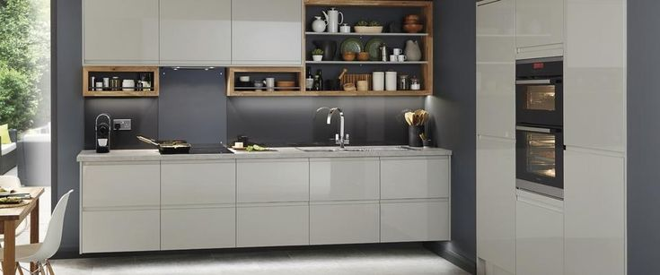 Clerkenwell Gloss Grey kitchen Howdens