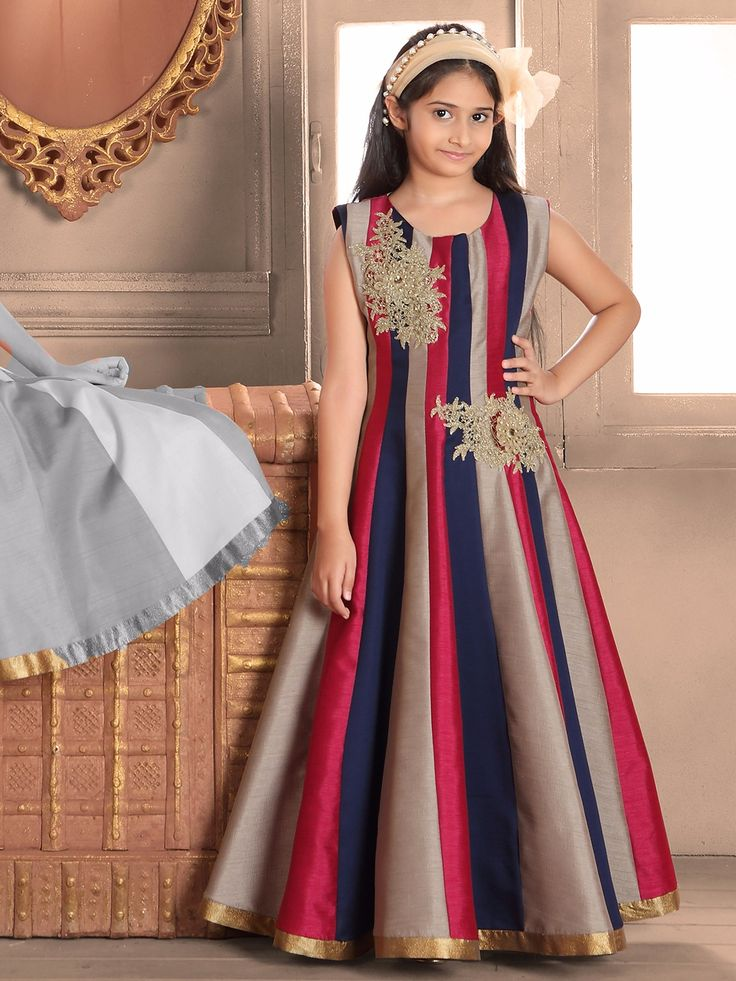 Shop Navy raw silk gown online from G3fashion India. Brand - G3, Product code - G3-GGO0515, Price - 4595, Color - Navy, Fabric - Raw Silk,