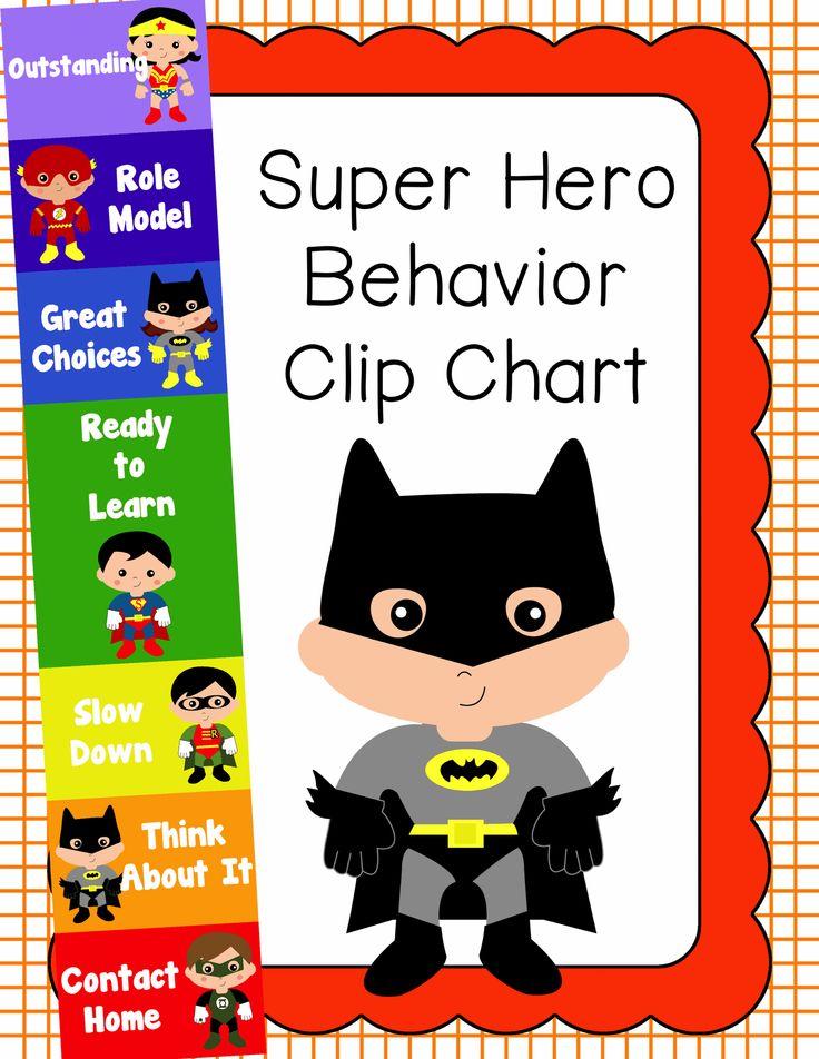Behavior Clip Chart - Behavior Management - Super Heroes, $ How to adjust for at home