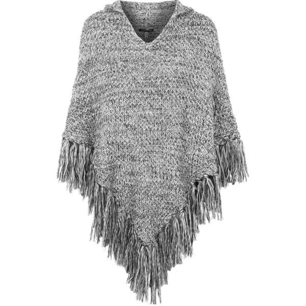 TOPSHOP Knitted Hooded Tassel Poncho ($35) ❤ liked on Polyvore featuring outerwear, tops, poncho, jackets, cardigans, monochrome, hooded poncho and topshop