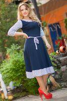 """Стильное платье в морском стиле """"Соня"""" с расклешенной юбкой и рукавом 3/4 (большие размеры)"""