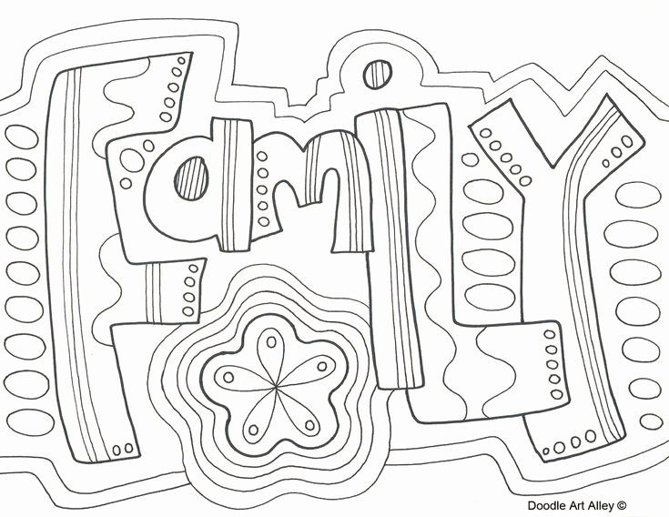 Free Printable Word Coloring Pages Beautiful Family Doodle Coloring Page Zentangle Word Wuote In 2021 Family Coloring Pages Coloring Pages Family Coloring
