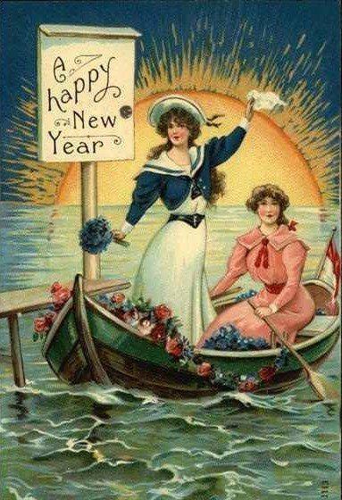 """Happy New Year"" postcard."