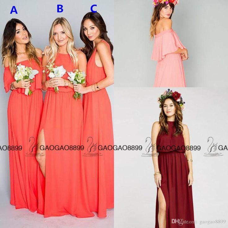 Chic Mumu C Split Chiffon Bohemian Beach Bridesmaid Dresses 2016 Custom Make Elegant Maid Of Honor More Style Wedding Guest Dress